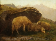 Sheep on a Hillside painting reproduction, Rosa Bonheur