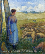 Shepherdess painting reproduction, Camille Pissarro