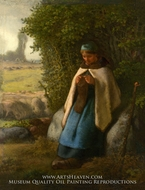 Shepherdess Seated on a Rock painting reproduction, Jean-Francois Millet