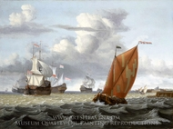 Shipping off a Dutch Harbour painting reproduction, Gerrit Pompe