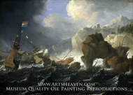 Ships and a Galley Wrecked on a Rocky Coast painting reproduction, Jan Peeters