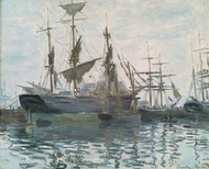 Ships in a Harbor painting reproduction, Claude Monet
