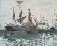 Ships in a Harbor by Claude Monet