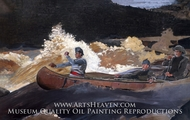 Shooting the Rapids, Saguenay River painting reproduction, Winslow Homer