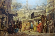 Shopping Square painting reproduction, Amedeo Preziosi
