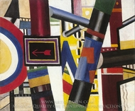 Sketch for the Railway Crossing painting reproduction, Fernand Leger