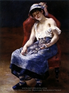 Sleeping Girl with a Cat painting reproduction, Pierre-Auguste Renoir