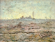 Snow Covered Field with a Harrow by Vincent Van Gogh