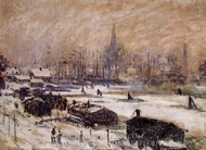 Snow in Amsterdam painting reproduction, Claude Monet
