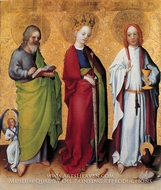 SS Matthew, Catherine of Alexandria, and John the Evangelist painting reproduction, Stefan Lochner