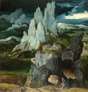 St. Jerome in a Rocky Landscape painting reproduction, Joachim Patinir