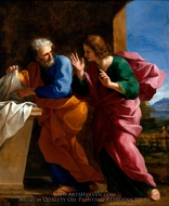 St. John and St. Peter at Christ's Tomb painting reproduction, Giovanni Francesco Romanelli