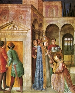 St. Lawrence Receiving the Church Treasures painting reproduction, Fra Angelico