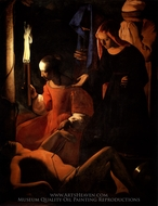 St. Sebastian Tended by St. Irene painting reproduction, Georges De La Tour