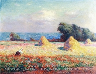 Stacks of Hay and Field of Poppies by Ferdinand Du Puigaudeau