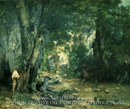 Stags by the Stream at Plaisir-Fontaine, Doubs by Gustave Courbet
