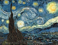 Starry Night painting reproduction, Vincent Van Gogh