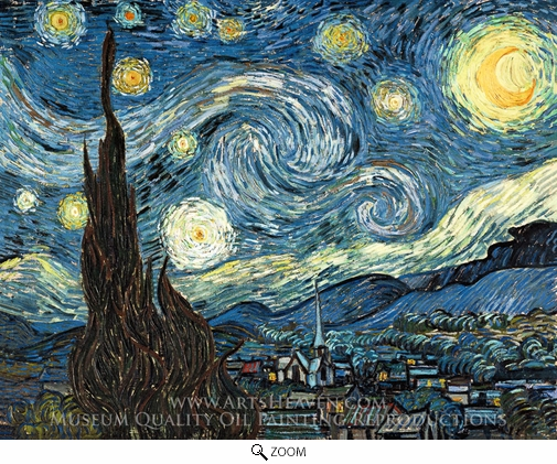 Vincent Van Gogh Starry Night Painting Reproduction Of Click Starry Vincent