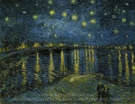 Starry Night Over the Rhone painting reproduction, Vincent Van Gogh