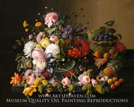 Still Life: Flowers and Fruit painting reproduction, Severin Roesen