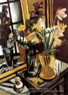 Still Life of Flowers with Mirror by Max Beckmann