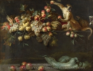 Still Life of Fruit and Vegetables with Two Monkeys painting reproduction, Jan Roos