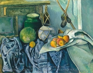 Still Life with a Ginger Jar and Eggplants painting reproduction, Paul Cezanne