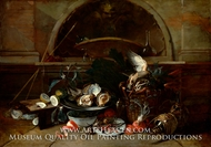 Still Life with Bottles and Oysters painting reproduction, Nicola Van Houbraken