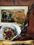 Still Life with Bouquet and Fan by Pierre-Auguste Renoir