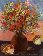 Still Life with Cat painting reproduction, Paul Gauguin
