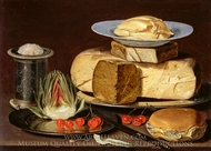 Still Life with Cheeses, Artichoke, and Cherries painting reproduction, Clara Peeters