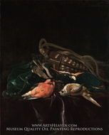 Still Life with Dead Birds and Game Bag painting reproduction, Willem Van Aelst