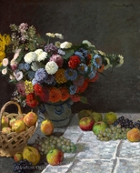 Still Life with Flowers and Fruit painting reproduction, Claude Monet