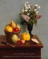 Still Life with Flowers and Fruit painting reproduction, Henri Fantin-Latour