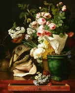 Still Life with Flowers, Shells, a Shark's Head, and Petrifications painting reproduction, Antoine Berjon