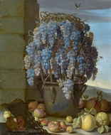 Still Life with Grapes and other Fruit painting reproduction, Luca Forte