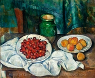 Still Life with Plate of Cherries painting reproduction, Paul Cezanne