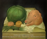 Still Life with the Head of Pork by Fernando Botero