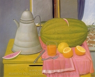 Still Life with Watermelon painting reproduction, Fernando Botero