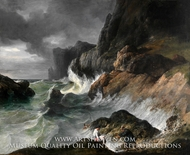Stormy Coast Scene after a Shipwreck by French Painter