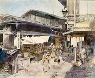 Street Scene in Ikao, Japan painting reproduction, Robert Blum