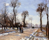 Street: Winter Sunlight and Snow painting reproduction, Camille Pissarro