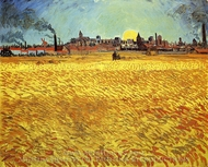 Summer Evening, Wheatfield with Setting Sun painting reproduction, Vincent Van Gogh