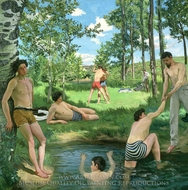Summer Scene (Bathers) painting reproduction, Jean Frederic Bazille