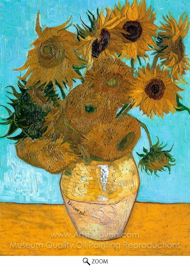 Vincent Van Gogh, Sunflowers (12 in a vase) oil painting reproduction