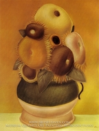 Sunflowers painting reproduction, Fernando Botero