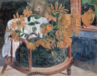 Sunflowers on a Chair painting reproduction, Paul Gauguin