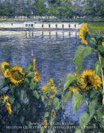 Sunflowers on the Banks of the Seine by Gustave Caillebotte