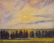 Sunset at Eragny painting reproduction, Camille Pissarro