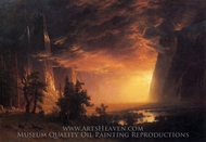 Sunset in the Yosemite Valley painting reproduction, Albert Bierstadt